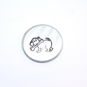 dog with bone metal design stamp